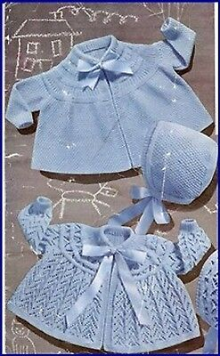 Baby Knitting Pattern Lovely Lacy dress and matinee jacket +  Bonnet