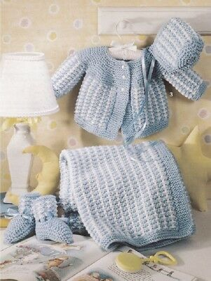 Baby Knitting Pattern BLANKET copy Matinee Jacket Bonnet and Bootees 8 ply