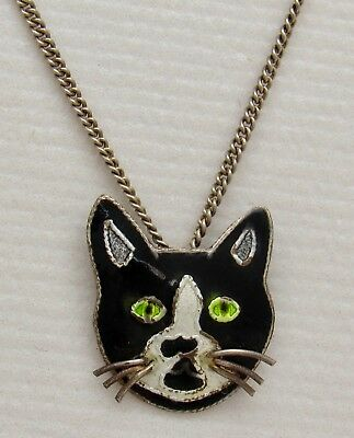 """Black & White Enamel Kitty Cat Pendant on Sterling Silver 925 Necklace Chain 16"""""""