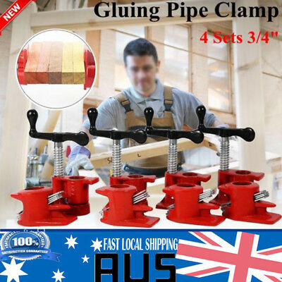 """3/4"""" Gluing Pipe Clamp 4 Sets Woodworking Vice Hand Tools Tube Clamp Heavy Duty"""