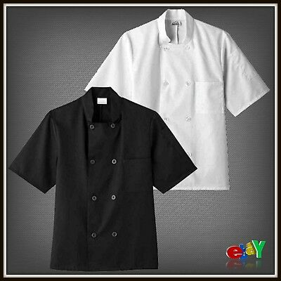 "Unisex Short Sleeve Chef Jacket With Polyester Cotton 29"" Length 2 Piece Back"