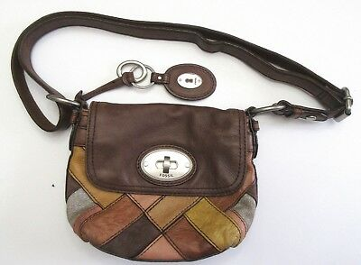 VINTAGE FOSSIL HANDBAG Purse Crossbody Brown leather patchwork small ... aa7e1586e8e44