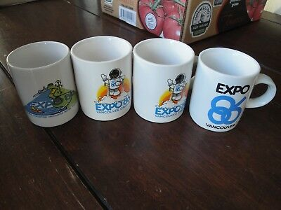 "4 vtg Expo 86 short coffee cups 2.75""h x 2.25"" diam Vancouver Exposition 1986"