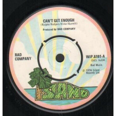 """BAD COMPANY (ROCK GROUP) Can't Get Enough 7"""" VINYL UK Island Pink Rimmed 4"""