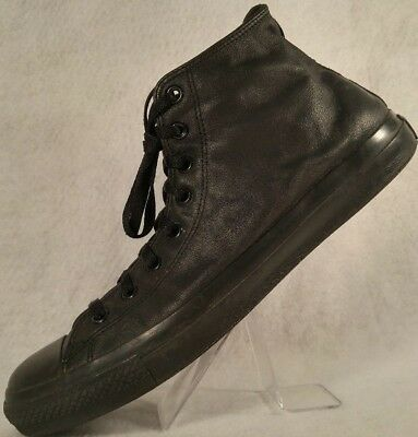 4612e6d1f5f788 Converse Chuck Taylor All-Star Black Leather High Top Monochrome Shoes  Men s 13