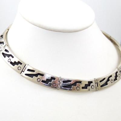 """HEAVY Sterling Silver Taxco Mexico Geometric 67 grams Necklace 15.25"""""""