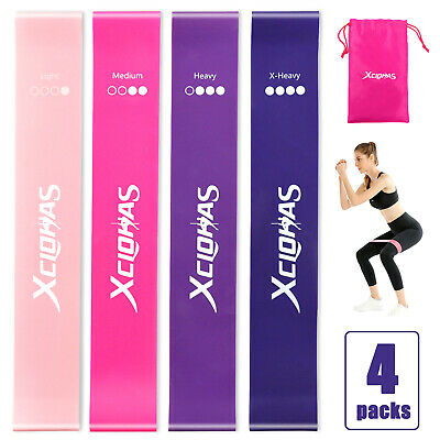 4 Resistance Loop Bands Womens - Glutes | Legs | Yoga | Pilates | Gym Set of 4