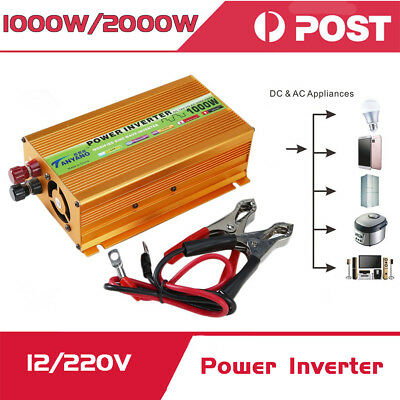 Peak 2000W Sine Wave Power Inverter DC 12V to AC 220V Car Converter USB