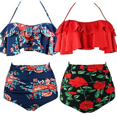 Women Floral High Waisted Bikini Set Swimsuit Padded Swimwear Bathing Plus Size