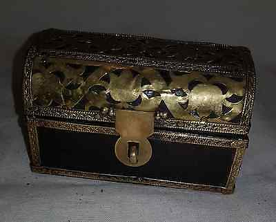 Old Antique Handmade Wooden Brass  Trinket Jewelry Box