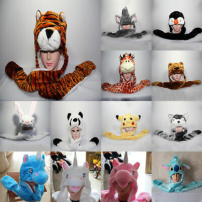 3 in 1 Winter Warm Plush Animal Cos Hat Cap Earmuff Hood Scarf Mitten Gloves AU