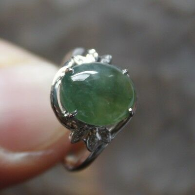 14K Size 6 1/2 ** CERTIFIED (A) Natural Untreated Green Jadeite Jade Ring #R096