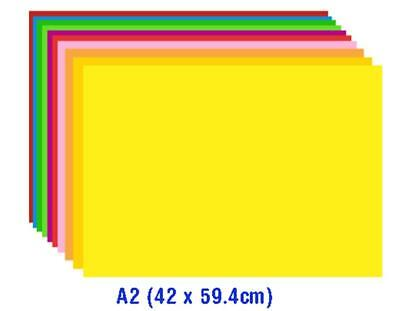 50pack A2 coloured cardboard - 10 colours - 42 x 60cm - 180gsm - Aussie Seller