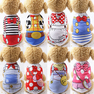Spring Teddy Clothes Puppy Dog Cotton Vest Summer Cat Pet Coat Shirt Costume New