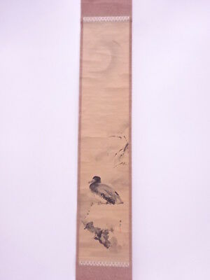 3635493: Japanese Wall Hanging Scroll / Hand Painted / Ink Painting Bird & Moon