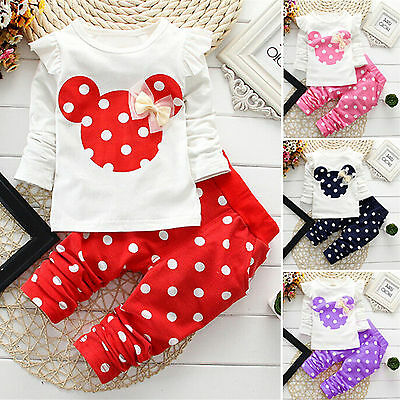 2Pcs Toddler Girl Clothes Minnie Mouse Bow Top & Pants Polka Dot Outfits Set AU