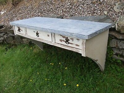 3' Vintage Shabby Chic Painted Oak Wall Shelf 3 Drawer Unit Kitchen Porch Wooden