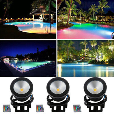 12V Mains Patio Fountain Pond Lighting Spot Light RGB LED Underwater Lamp Remote