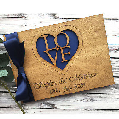 Personalised Wedding Guest Book Scrapbook Album Wooden Blues Greens Purple