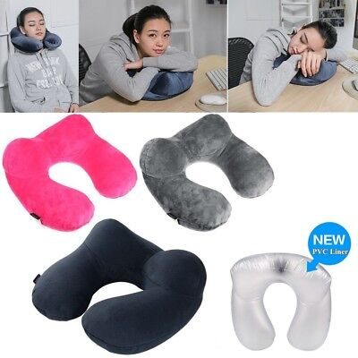 1x U-shaped Neck Support Pillow PVC Foldable Inflatable Cushion Travel Pillow BO