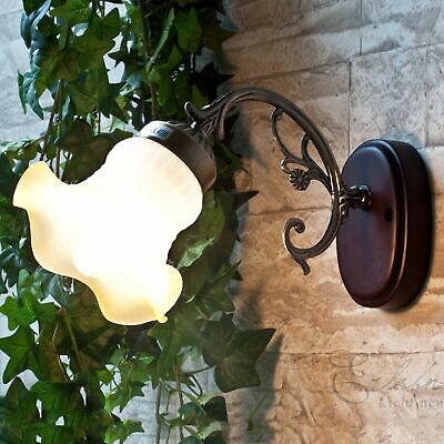 Rustic Wall Light Wall Lamp Cottage Wood & Stained Glass Hall Staircase
