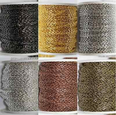 5/100M Gold/Silver Plated Cable Link Iron Metal Chain Findings 3x4mm 6 Colors