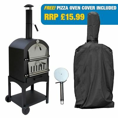 Outdoor Pizza Oven Wood Fired Garden Chimney Charcoal BBQ And Smoker, Free Cover