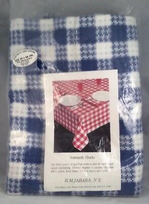 """Vintage Tablecloth 50"""" x 88"""" Blue and White Normandy Checks Pattern 100% Cotton"""