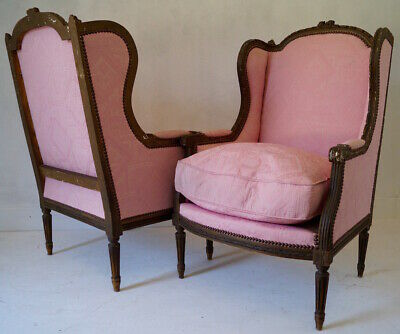Pair of 19th Century French Antique Louis XVI Bergere Armchairs