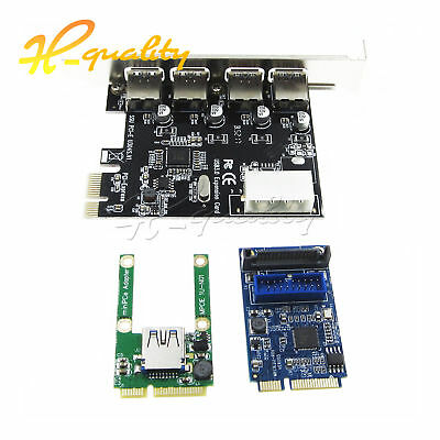 Mini 4 Port PCI-E to USB 2.0 / 3.0 Card Express Expansion Adapter Riser Card