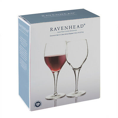 Set of 2 Ravenhead Diamond Lead Free Crystal Red Wine Glasses 415ml NEW