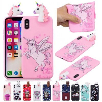 For iPhone Soft TPU 3D Cute animal unicorn Phone Case Bear  silicone cover Gel