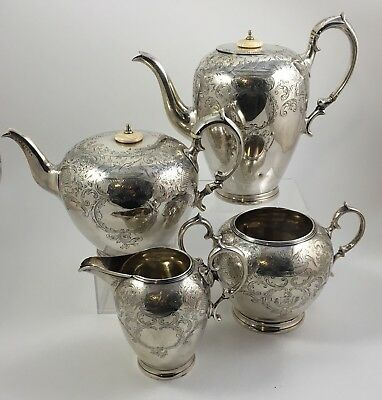 Antique  1843  William Hall  English  Sterling Silver Tea Set