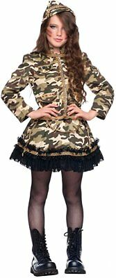 Italian Made Girls Deluxe Army Soldier Halloween Fancy Dress Costume Outfit 3-8y