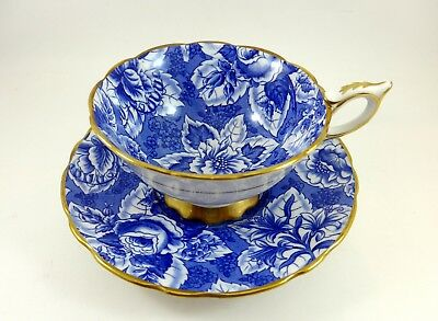 Lovely Gold and Blue Royal Stafford Tea Cup and Saucer Tapestry Flowers