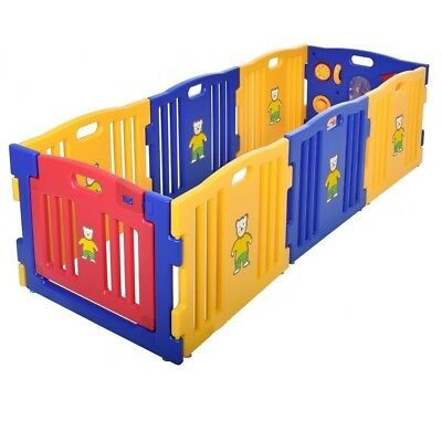 Play Pen For Baby Kids 8 Panel Large Folding Room Partition Separator With Toys