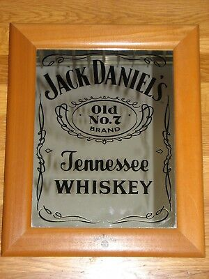Large VINTAGE JACK DANIEL'S Bar Mirror Wood Framed Classic Old No. 7 Logo