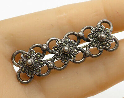 Fine Pins & Brooches Responsible Art Deco Style Long Marcasite Flower Floral Bar Brooch 925 Sterling Silver 8g In Many Styles Jewelry & Watches