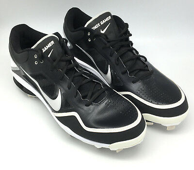outlet store d198a 83aba NEW Nike Shox Gamer Baseball Metal Cleats Shoes Black White Big Tall Men s  Sz 15