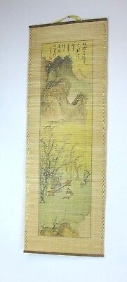 Vintage Asian Bamboo Scroll Hand-Painted Wall Hanging Marked