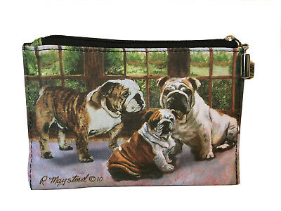 NEW English Bulldogs Zippered Pouch Coin Purse Makeup Jewelry Bag Dogs Maystead