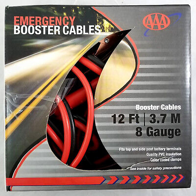 AAA 12 ft 3.7M 8 Gauge Emergency Booster Cables (STORE REPACKAGE)