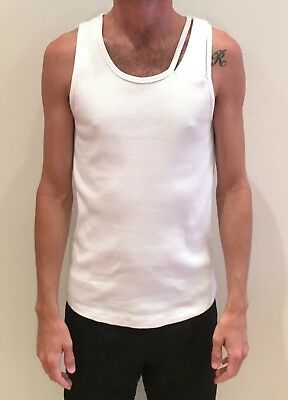 f8224d2968fc1 HELMUT LANG Men s Ribbed White Stretch Cotton Reveal Tank Top - Sz. S - NWT