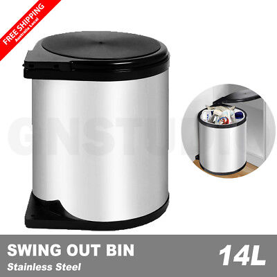 Kitchen Rubbish Bin Swing Pull Out Stainless Steel Waste Trash Can 14L