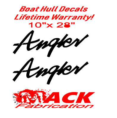 """Pair Of 10"""" X 28"""" Angler Boat Hull Decals Marine Grade. Your Color Choice.07"""