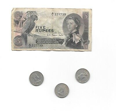 Seychelles Five 5 Rupees Banknote 1968 + 3 Half Rupee Coins