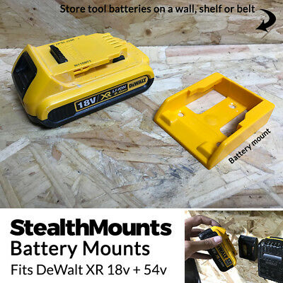 5x YELLOW Battery Mounts for DeWalt 18v XR 54v FlexVolt Li Ion Batteries Holder