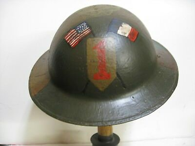 WWI AEF 1st infantry Division 'Big Red One' Camo Doughboy Brodie Helmet repro