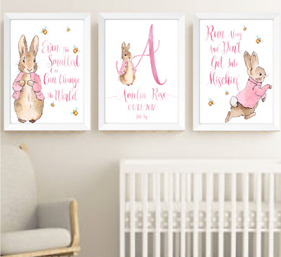Peter Rabbit Beatrix Potter Baby Girl Nursery Decor Print Set, Bunny Art Prints