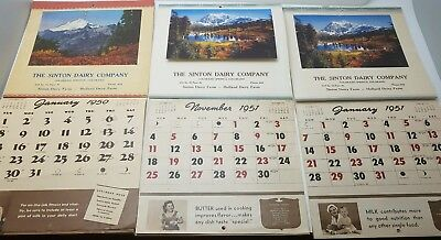 Lot of 5 VINTAGE 1950s Dairy & Grocery ADVERTISING WALL CALENDAR RECIPES TIPS